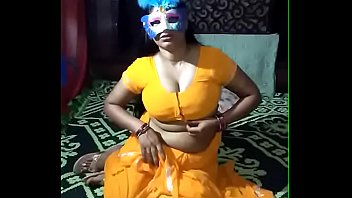 Yellow saree desi aunt tease