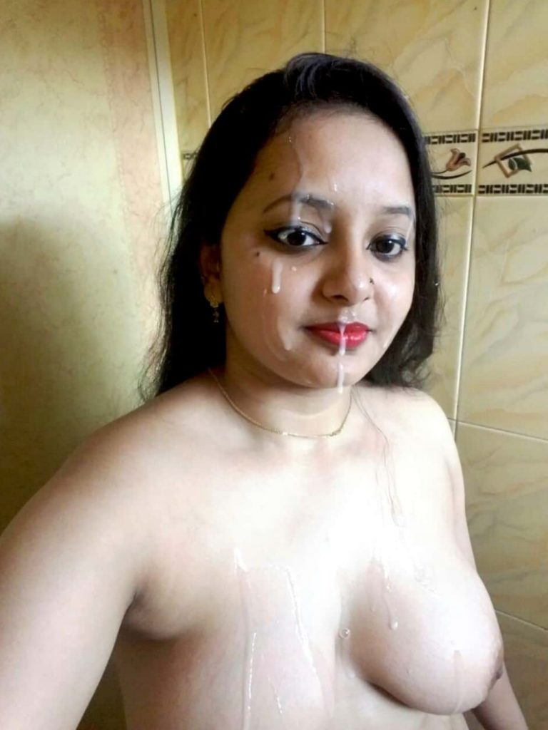 Beautiful Indian girl having her face cum covered