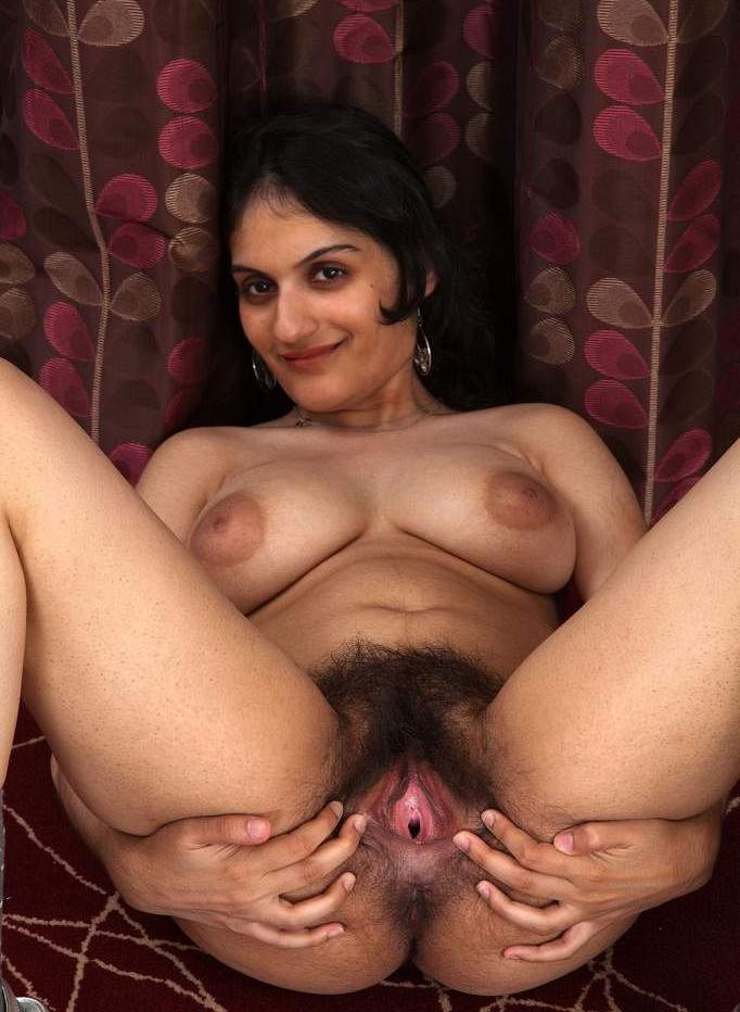 My friend's cute wife showing her hairy pussy hole